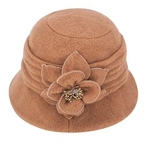 A299 - Sombrero de invierno para mujer, elegante, estilo clásico, lana suave, flor de adorno Marrón marrón claro Talla única