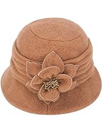 37d3c16f0e7 Women Elegant Classic Ladies Soft Wool Cloche Bucket Floral Winter Cap Hat  A299