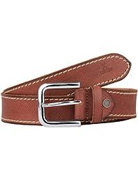 K London Men Casual, Formal Brown Genuine Leather Belt (brn_outline_whitethread)