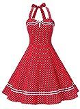 Timormode Rockabilly Kleider Neckholder 50s Vintage Kleid Retro Knielang Kleider Damenkleider Festlich Cocktailkleider 10387 Rot Punkte S