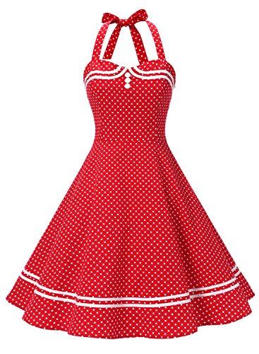 Timormode Rockabilly Kleider Neckholder 50s Vintage Kleid Retro Knielang Kleider Damenkleider Festlich Cocktailkleider 10387 Rot Punkte XS