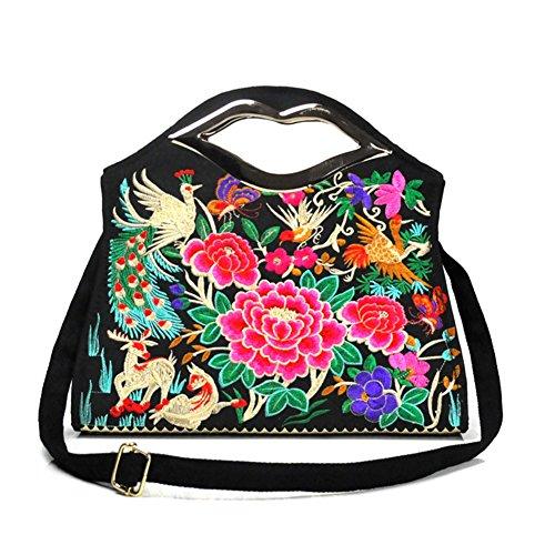 Bella borsa a tracolla–Memorecool ricamo Handbags National Style borsa ragazze in poliestere con zip Tasche interne Healthy peonies3 phenix1