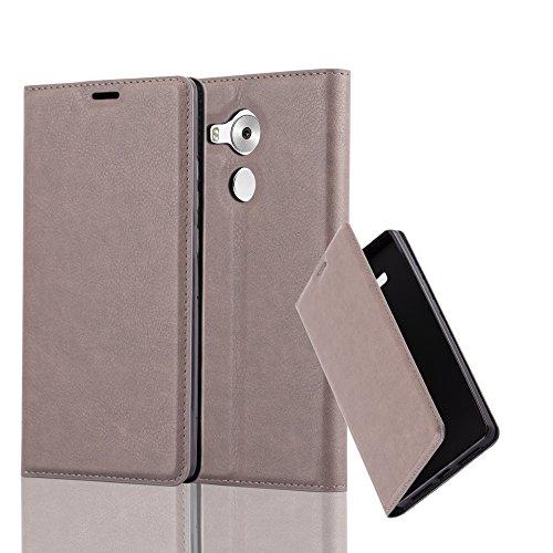 Cadorabo Hülle für Huawei Mate 8 - Hülle in Kaffee BRAUN – Handyhülle mit Magnetverschluss, Standfunktion und Kartenfach - Case Cover Schutzhülle Etui Tasche Book Klapp Style