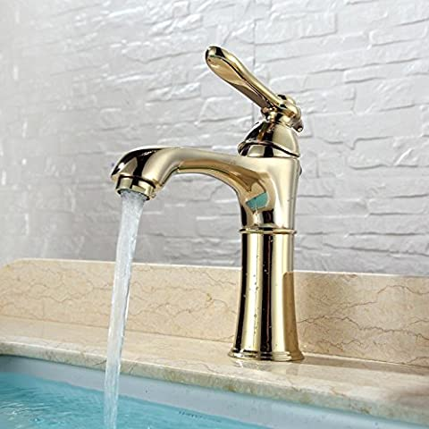 BFDGN Semplice Morden durevole e robusto il rame spazzolato per rubinetti lavandini bagno Upscale di rame pieno a caldo e a freddo di sollevamento resistente alla corrosione in acciaio inox foro singolo verticale di miscelazione a caldo e a freddo , Rubinetti per lavandini bagno (Dare 1/2 Hot &a freddo dei tubi flessibili acqua )