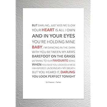 Ed sheeran perfect funky lyric art print a4 size amazon ed sheeran perfect funky lyric art print a4 size stopboris Images