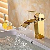 Auralum® Elegant 2 Jahre Garantie Gold Einhebel Mischbatterie Wasserhahn Armatur Waschtischarmatur Vergoldet Wasserfall Einhandmischer für Bad Badezimmer Waschbecken