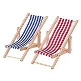 Lvcky 2Stück 1: 12Miniatur klappbar Holz Strandkorb Recamiere Liegestuhl Mini Möbel Zubehör mit Rot/Blau Streifen für Innen und Außen