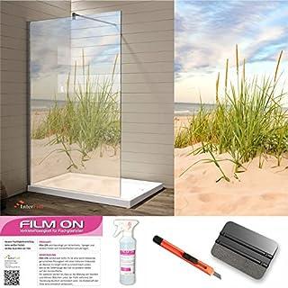 Glasdekor Dusche, Sichtschutz & Trennwände, Druck auf Glasdekorfolie in Sandstrahloptik, hochwertig bedruckte Glasdekorfolien mit einer satinierte Oberfläche aus eigener Produktion! (200 x 100 cm, 100)