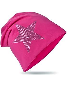 Baby Kinder Jersey Slouch Beanie Long Mütze mit Strass Stern Unisex Baumwolle Trend