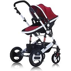 Haut paysage bébé poussette peut asseoir inclinable léger poussettes pliantes landaus chariots bidirectionnels enfants amortisseur poussettes buggies ( Color : Red , Taille : 32.28*25.59*44.48inchs )