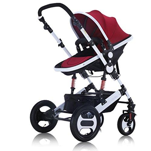 XXW Passeggino Carrello per Bambini ad Alto Paesaggio Carrello per ombrelli Pieghevole per Bambini Ultraleggero Portatile a Grande Altezza Carrello (Color : Wine Red)