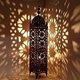 Orientalische Laterne Marokkanische Eisenlaterne | Handgefertigte Gartenwindlicht Windlicht Tischlaterne | Kunsthandwerk aus Marrakesch für Lichtspiele wie aus 1001 Nacht | Hilal H144