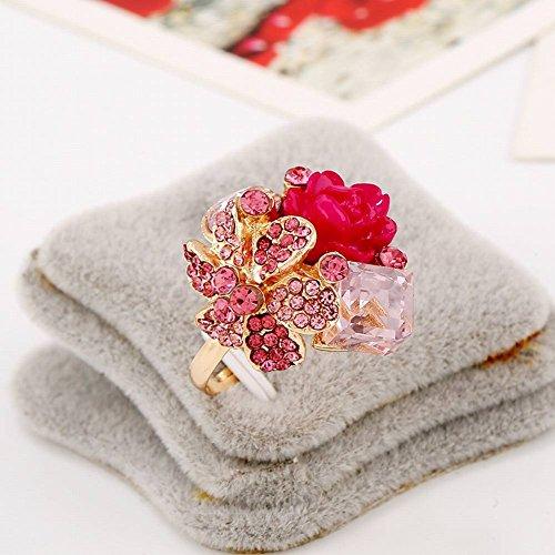 Thumby Offener Ring Der Schmucksache-Hellen Kristalledelsteinpersönlichkeitsart und Weise Hypoallergenic Harzblumenring-Ringschmucksachen, Rosa (Schwarz Und Rosa Saphir-ring)