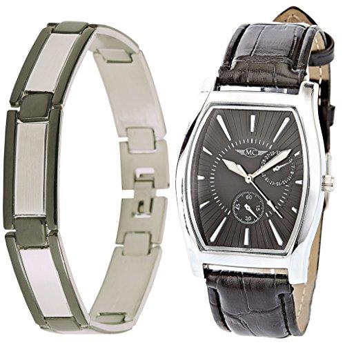 montre-concept-Geschenk Set Uhr mit Armband aus Edelstahl-Uhr Analog-Armband schwarz Gehäuse rechteckig Hintergrund Schwarz: BH1-1-0075