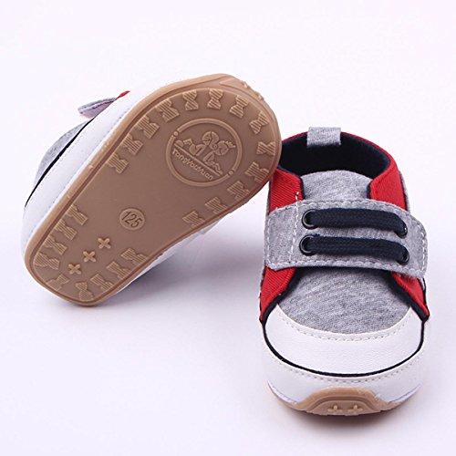 Happy Cherry Babyschuhe weiche Lauflernschuhe Baby Segeltuch Schuhe atmungsaktive Turnschuhe Wandern Sneaker mit rutschfester Sohle für Mädchen Jungen (7-12 Monate) - Blau Grau