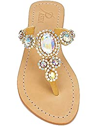 1f8087ce9 Pasha Corinth Rainbow Crystal Jeweled Leather Sandals