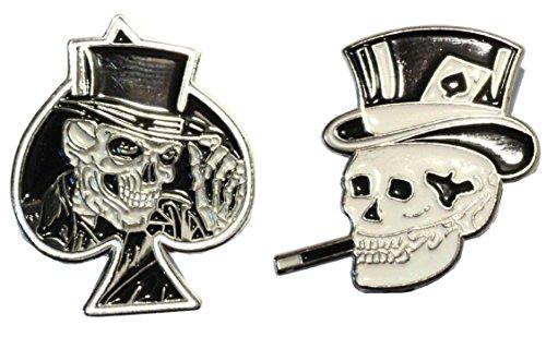 Mercmad Motorradschild-Set, Motiv: Pik-Ass mit, Totenkopf eingraviert, Metall / Emaille