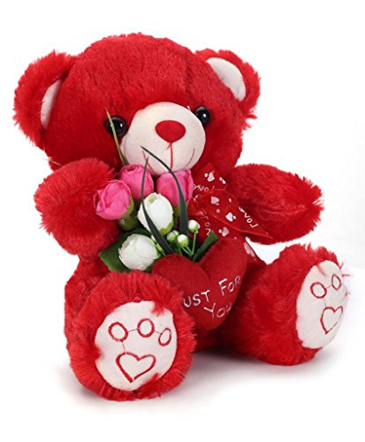 Tickles Red Just for You Heart Teddy with Rose Stuffed Soft Plush Toy Love Girl 22 cm