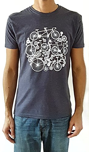 Camiseta de hombre Bicicletas - Color Azul Denim Heather - Talla L - Regalo para hombre - Cumpleanos o San Valentin