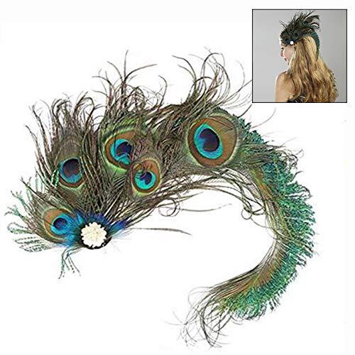 Pfauenfeder Kostüm - LHKJ Pfauenfeder Haarspange,Retro Pfauenfeder Haarverzierung mit Clip für Damen Kostüm Accessoires
