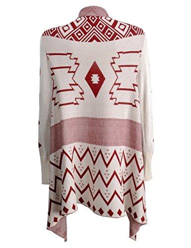 ZLYC Damen Helbst/Winter Geometrische Muster Strickjacke Dünne Jacke Dunkelrot
