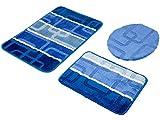 3-teilig Badset Badgarnitur Badematten Badteppich Timor 015 Blau 03