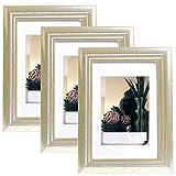 EUGAD 3er Set Bilderrahmen Fotogalerie, 9407-3, Holz Rahmen, mit Glasscheibe, mit Passepartout, Artos Silber, 10x15 cm