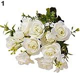 1 ramo artificial de estilo europeo de 15 capullos de rosas para decoración del hogar. De Amesii.