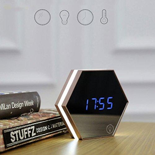 Qtiwe LED Digital Touch Wecker Multifunktionsuhr sechseckige Tischuhr Wanduhr mit 3 Alarmzeiten Thermometer Kosmetikspiegel Nachtlicht durch USB Aufladbar Silber