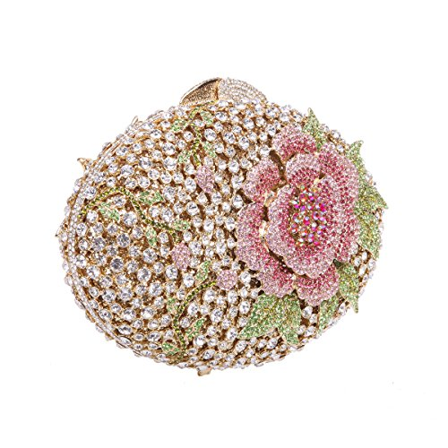 Bonjanvye Glitter Flower Clutch Purses Rhinestones and Handbags for Girls Red Multicolored