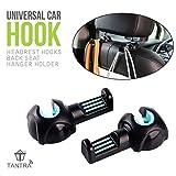 #8: Tantra Car Seat Hook, Headrest Hooks Back Seat Hanger Holder for Umbrella/Handbags/Purse/Grocery Bag/Plastic Bags and More,Vehicle Interior Back Seat Storage Hooks Organizer (Black + Blue)