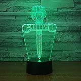 Persönlichkeit Kreuz Modellierung 3D Nachtlicht LED Energiesparende Tischlampe Acryl Bunte Gradienten Touch / Fernbedienung USB Stecker Wiederaufladbare Bluetooth Lautsprecher Home Schlafzimmer Kopfteil,Touchremotecontrol
