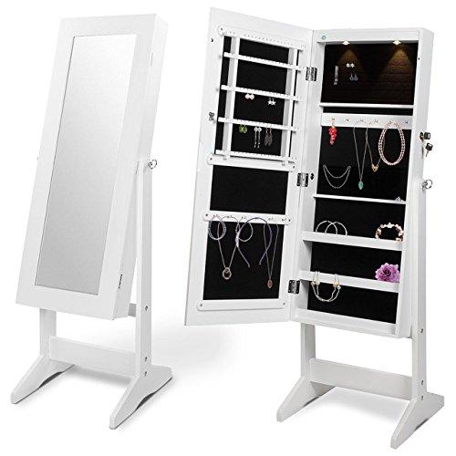 Homelux Schmuckschrank Spiegelschrank Standspiegel Schmuckkasten mit LED Beleuchtung, (B x H x T) 41,2 x 120 x 36,5 cm, Weiß