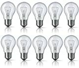10 x 40W Edison Screw E27 Clear Standard Classic GLS Light Bulbs, Edison Screw Cap, Incandescent Dimmable Lamps, 410 Lumen, Mains 240V, A50 Globes