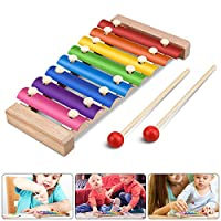 Jooheli Xylophone for Kids, Xylophone Baby, Multi-color Wooden Xylophone Musical Instruments, Wooden Music Toys Drums Percussion for Kids Early Educational Toy Christmas Birthday Gift,23.5x12cm
