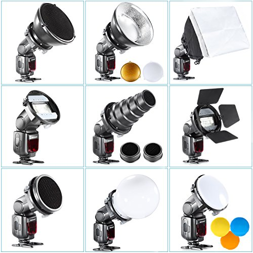 Neewer Pro Speedlite Blitz Zubehör-Kit mit Barndoor Konische Snoot Mini-Reflektor Kugel Diffusor Beaty Disc 20x30 cm Softbox Bienenwabe Farbfilter Universalhalterung Adpater (Flash Photo Slave)