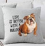 Alicert5II Englische Bulldogge Kissen Bulldogge Geschenk Bulldogge Dekor Hund Liebhaber Kissen Hund Kissenbezug