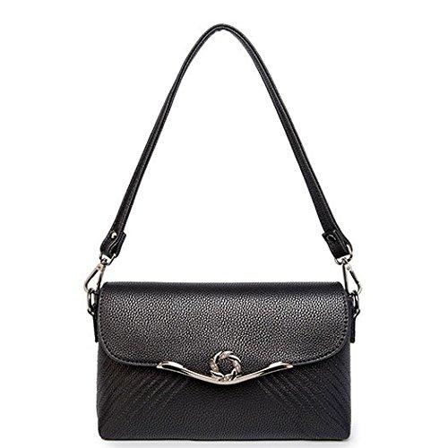 Kollektionen Handtaschen Aus Leder (Women Fashion Umhängetasche Trend Schultertasche Wild Handtasche Mini Bag,Black-24 * 5 * 15cm)