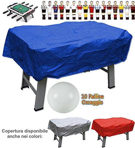Calcio balilla copertura in plastica blu per interno ed esterno universale per ogni tipo di calcetto. Set di 10 palline in omaggio.