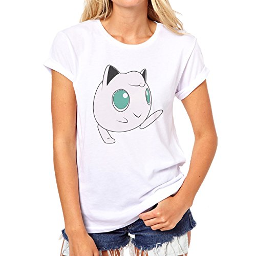 Pokemon Jigglypuff Wigglytuff Normal Walking Damen T-Shirt Weiß