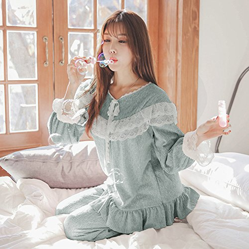 XBR Prinzessin Anzug heißes Spitzen lace Stricken Baumwolle Prinzessin Anzug locker süßer Pyjama,80050 IST Blau,XL (Blau Stricken Pyjama)