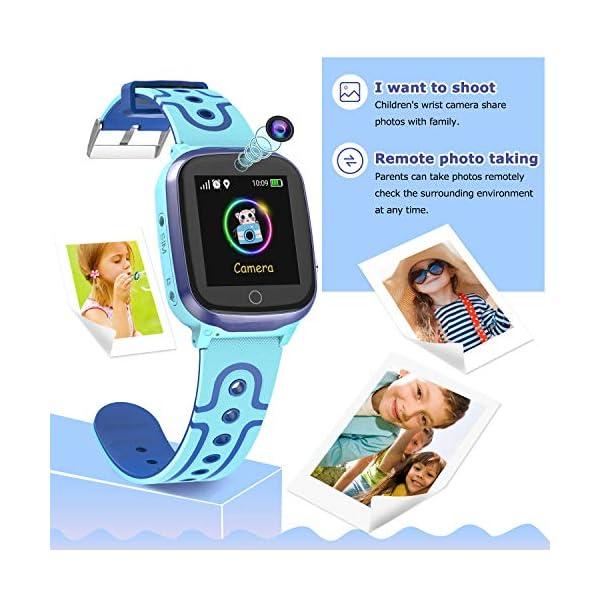 MeritSoar Tech GPS Smartwatch para Niños - WiFi + GPS + LBS Tracker Phone Smart Watch con Contador de Pasos Geo Fence Cámara Calling SOS Chat de Voz Juego para 3-12 Niños Compatible iOS/Android 6