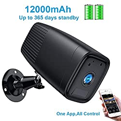 Wireless Rechargeable Battery Camera,1080P Home Security Camera System,Motion Detect,Night Vision,IP66 Waterrproof,12000mAh Battery,2-Way Audio Wire-Free Wi-Fi Cam for Video Surveillance (Black)
