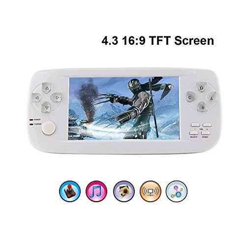 Handheld Game Console,Rongyuxuan Portable Video Game 4.3TFT Screen 4GB Pap Classic Handheld Game Console 653 Games 64 Bit Portable Game Console,Birthday Gift For Children -White