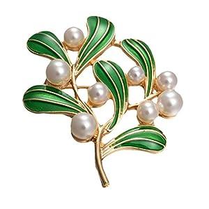 BIGBOBA Vintage Perlen-Brosche Tropfende Ölbaum-Blätter Anstecknadel Hochzeit Braut Anstecknadel Kleidung Schal Schal Clip Dekoration Geburtstag Festival Geschenk 5,5 cm