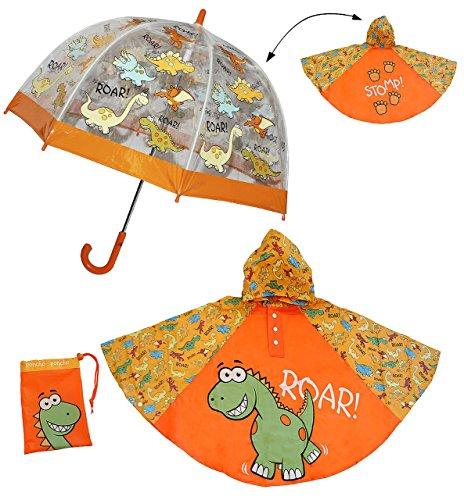 3 tlg. Set: Regenschirm + Regenponcho / Regencape - Dinosaurier - Dino - Gr. 104 - 128 / 3 bis 6 Jahre - Kinderschirm transparent - Kinder Stockschirm Regenschirm - für Jungen Schirm Kinderregenschirm / Glockenschirm Dinos Urzeit (Komplette Regen-mantel)