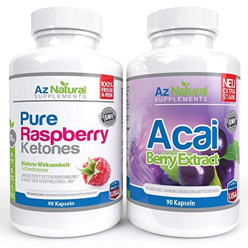 Acai Berry and Raspberry Ketone 90 Count DUO Pack Plus – pure max, hochdosierte Kapseln ideal zum abnehmen, kraftvoller Fettverbrenner, original nach Dr Oz – keine Nebenwirkungen – Antioxidantien in starken Diätpillen