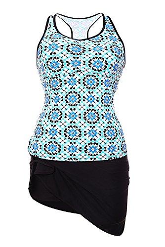 Damen Push Up Tankini Mit Schwimmen Short Badeanzüge Set Blau