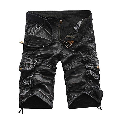 MISSMAOM Militar Cortos de Carga Camuflaje Bermuda Cortos Pantalones Deporte Shorts Multi Bolsillos Moda Pantalones Cortos Hombre Blanco Negro 38