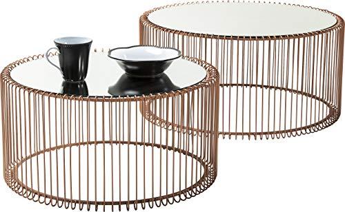Kare Lot de 2 Tables Basses Rondes en Verre Moderne